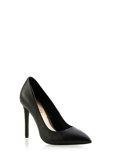 Pointed-Toe Pumps with Stiletto Heels,BLACK PU,large