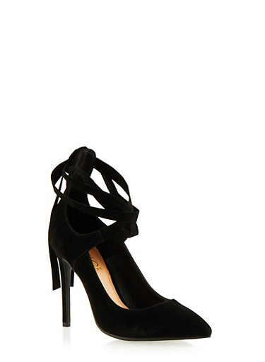 Faux Suede Pumps with Ankle Ties,BLACK F/S,large