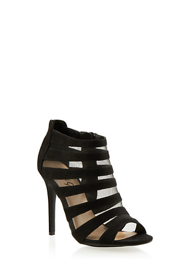 Faux Suede Cage Pumps with Mesh Backing,BLACK,large