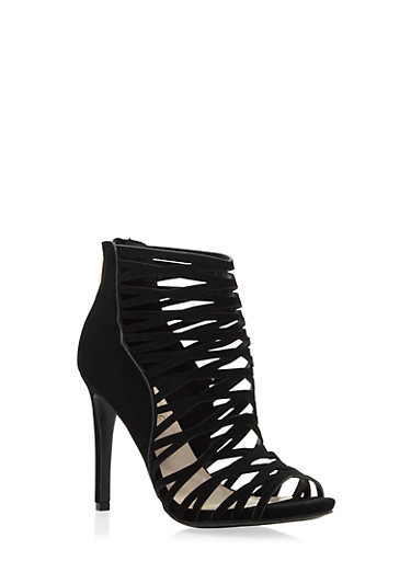 Cage Booties with Faux Leather Paneling,BLACK NB,large