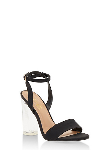 Clear High Heel Sandal with Ankle Strap,BLACK SATIN,large