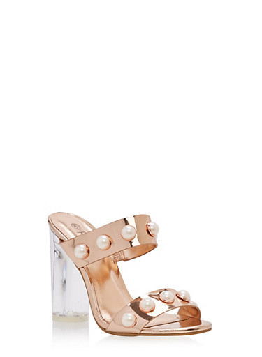 Faux Pearl Studded Clear High Heel Sandals,ROSE GOLD PATENT,large