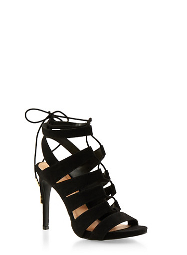 Cage Sandals with Lace-Up Front,BLACK F/S,large