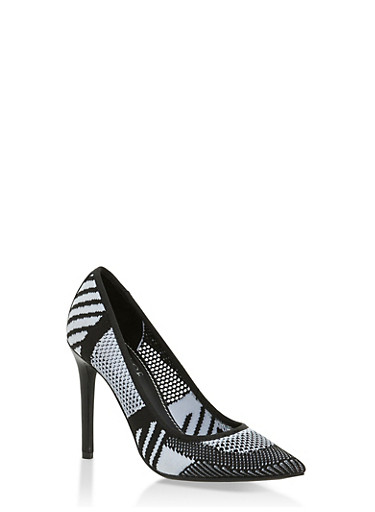 Knit Pointed Toe High Heel Pumps,WHITE/BLACK,large