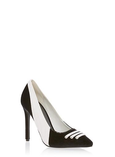 Athletic Pointed Toe High Heel Pumps,BLACK VELVET,large