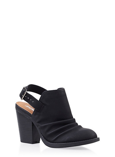 Faux Nubuck Ruched Booties with Chunky Stacked Heels,BLACK,large