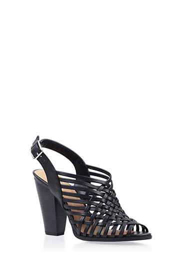 Woven Slingback Heels with Open Toe,BLACK,large