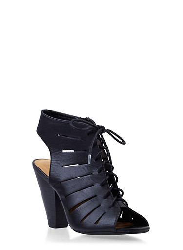 Open-Toe Lasercut Sandals with Lace-Up Front,BLACK,large
