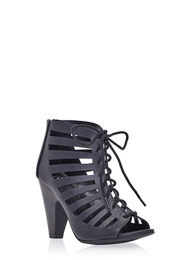 Lace-Up Ankle Boots with Open-Toes,BLACK,large