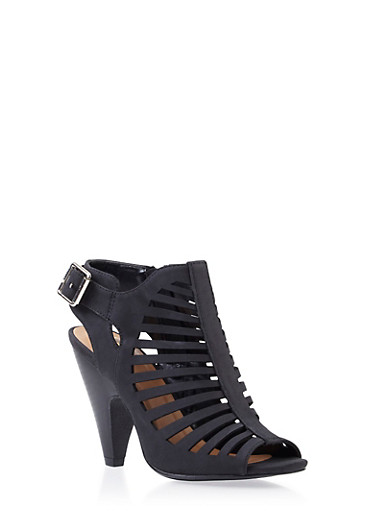 Open-Toe Cage Booties,BLACK,large