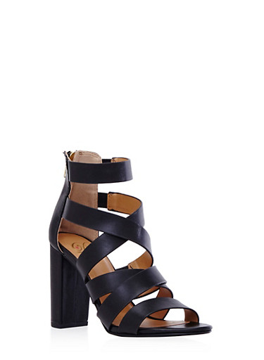Strappy Open-Toe Sandals with Block Heel,BLACK,large