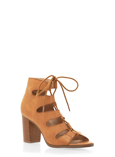 Faux Leather Ankle Boots with Front Lace-Up Accent,TAN,large