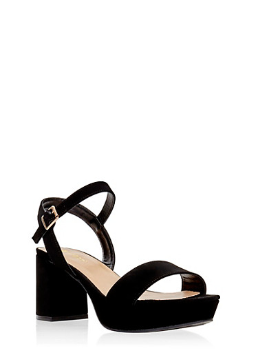 Faux Suede Platform Ankle Strap Sandals,BLACK,large