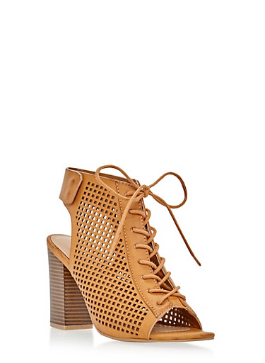 Lasercut Lace Up Chunky Block Sandals,TAN,large