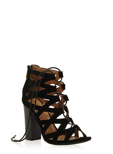 Strappy Open Toe Lace Up Heels,BLACK,large