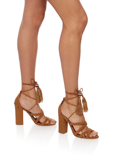 Faux Suede Tassel Ankle Wrap Heeled Sandals,TAN,large