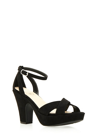 Platform Sandals with Ankle Strap,BLACK,large