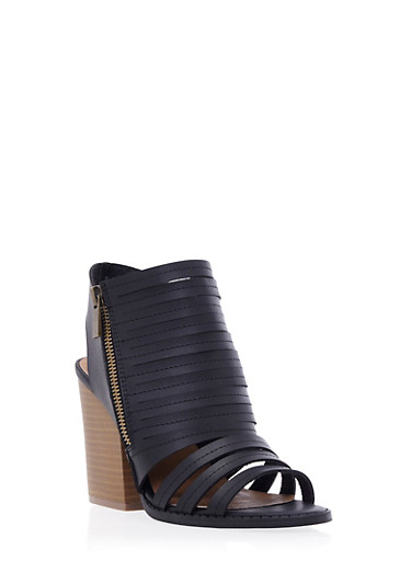 Faux Leather Cage Sandals with Open Toes and Stacked Heels,BLACK,large