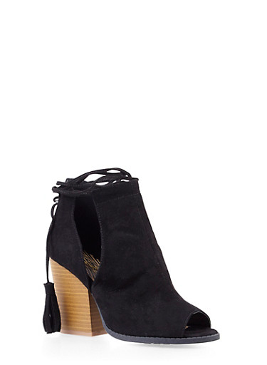 Lasercut Faux Suede Ankle Boots with Open Toes,BLACK,large