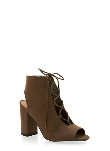 Faux Suede Lace-Up Ankle Boots with Chunky Heels,KHAKI,large