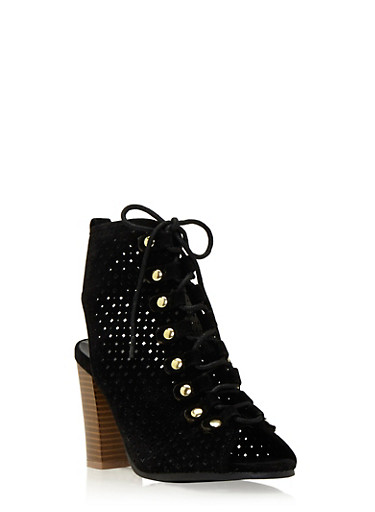 Lace Up Ankle Boots in Lasercut Faux Suede,BLACK SUEDE,large