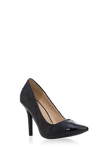 Quilted Metallic Pointy Toe Heels,BLACK,large