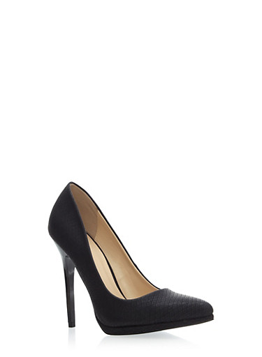 Pointy Toe Heel with Colored Snakeskin Print,BLACK,large