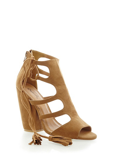 Open Toe Cutout Heeled Sandals with Side Tassels,CAMEL,large