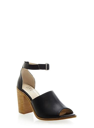 Peep Toe Heeled Sandal with Ankle Strap,BLACK PU,large