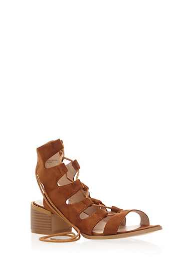 Lace Up Sandals with Block Heel,TAN,large