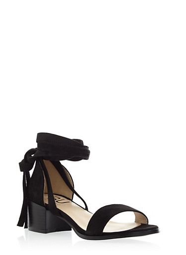 Lace Up Ankle Sandal with Heel,BLACK F/S,large