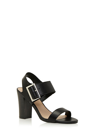 Faux Leather Sandals with Chunky Stacked Heels,BLACK,large