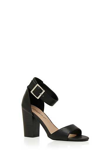 Faux Leather Sandals with Chunky Stacked Heels and Ankle Strap,BLACK,large