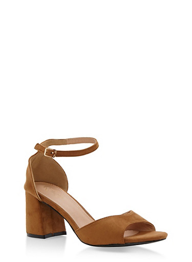 Faux Suede Open Toe Block Heel Sandals,TAN F/S,large