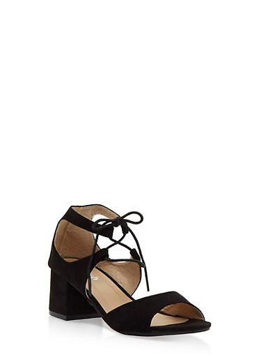 Faux Suede Lace Up Sandals,BLACK,large