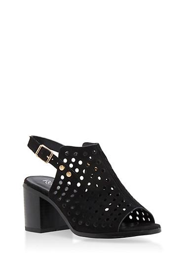 Faux Suede Lasercut Block Heel Sandals,BLACK,large