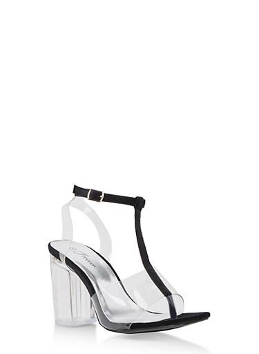 T Strap Clear High Heel Sandal,BLACK,large