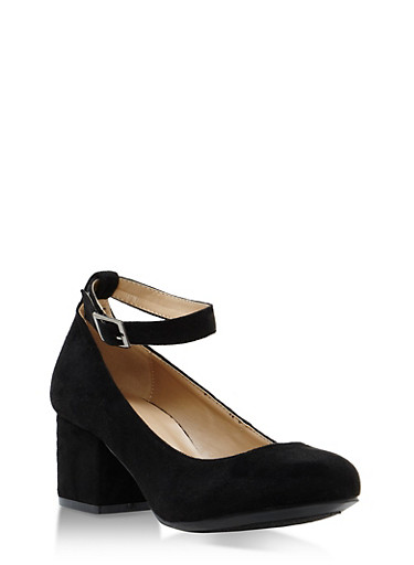 Faux Suede Mary Jane Block Heels,BLACK,large