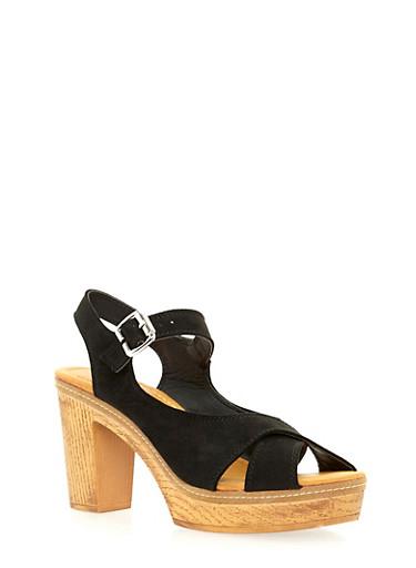 Criss Cross Platform Sandals,BLACK,large