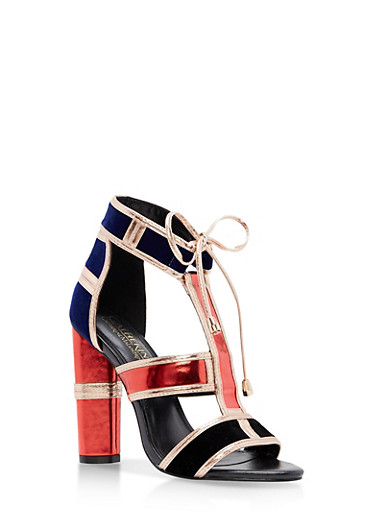 Round High Heel Ankle Tie Sandals,RED,large
