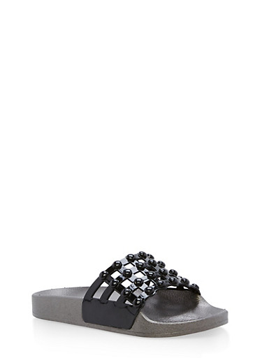 Faux Patent Leather Studded Slides,BLACK/BLACK,large