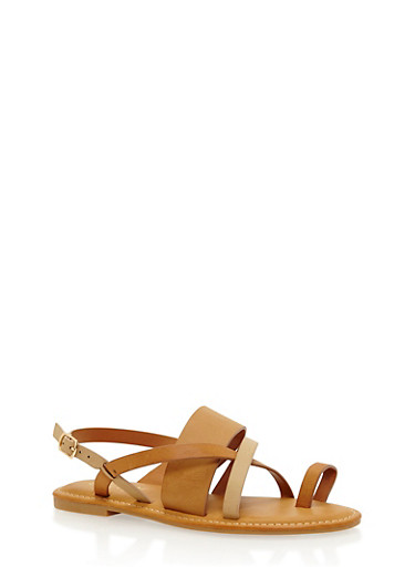 Strappy Toe Ring Sandals,NATURAL MULTI,large
