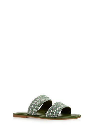 Rhinestone Studded Double Strap Slide Sandals,GREEN F/S,large