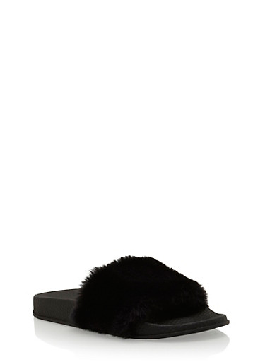 Single Strap Faux Fur Slides,BLACK/BLACK,large