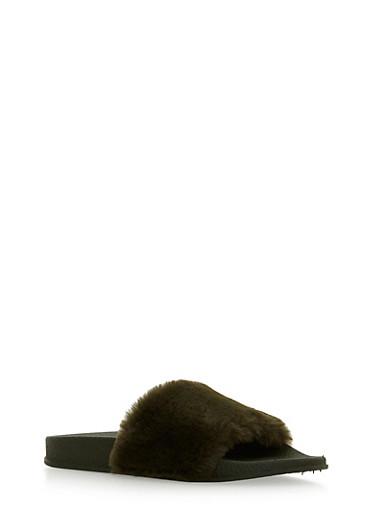 Single Strap Faux Fur Slides,OLIVE/OLIVE,large