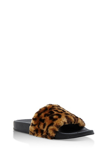Single Strap Faux Fur Slides,LEOPARD/BLACK,large