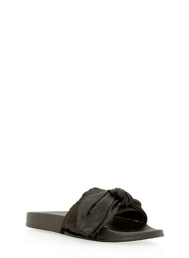 Satin Bow Slides,BLACK SATIN,large