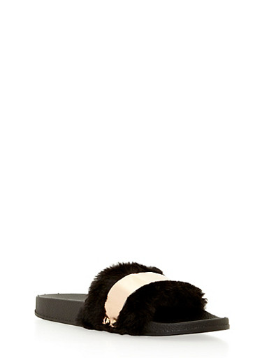 Faux Fur Slides with Metallic Band,BLACK FUR,large