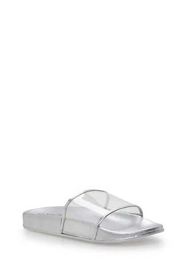 Clear Strap Slides,SILVER,large