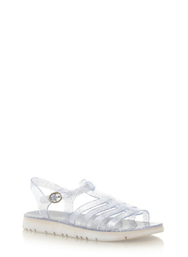 Fisherman Jelly T-Strap Flat Sandals,SILVER,large